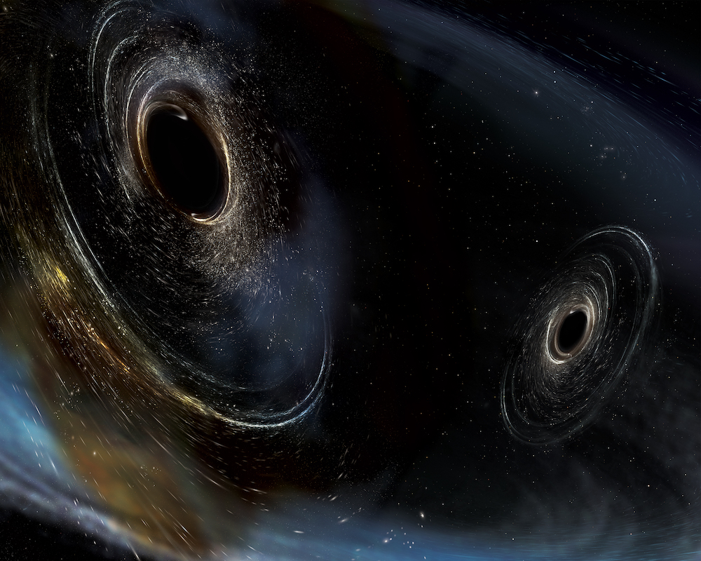 Artist's depiction of merging black holes.