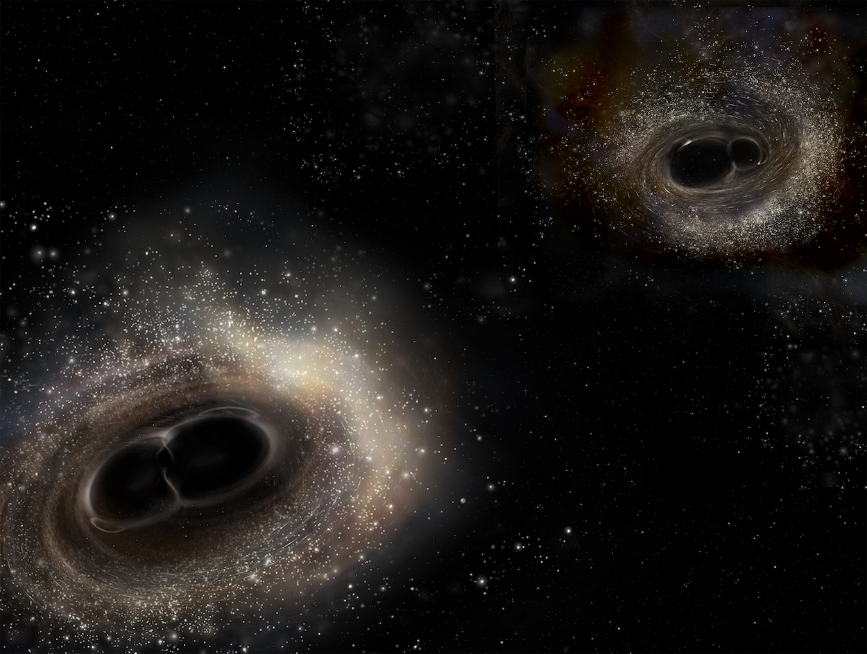 Artist's illustration comparing the merging black hole binary systems for GW150914 (left) and GW151226 (right).