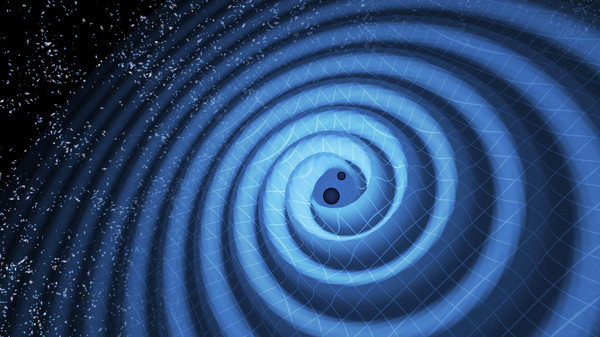 Artist's depiction of the merger of two black holes and the gravitational waves that ripple outward as the black holes spiral toward each other.