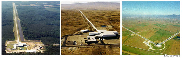 A collage of aerials of LIGO Livingston, LIGO Hanford, and Virgo detectors
