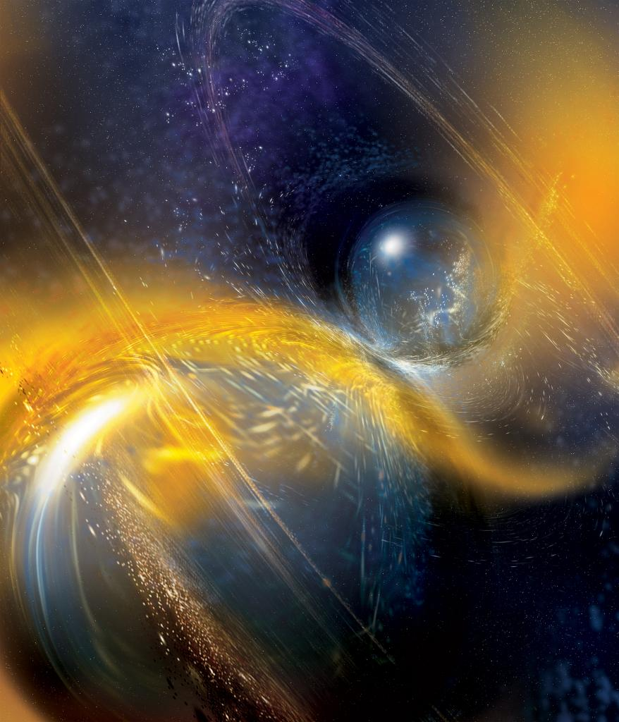 Artist's impression of a binary neutron star merger.