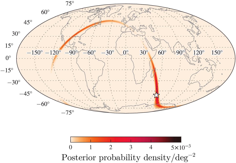 Una simulación de un mapa del cielo para la localización de una fusión de estrellas de neutrones que podría ser vista en O1